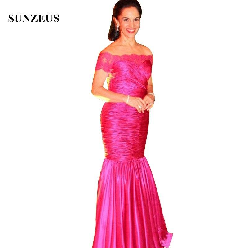 Sirène épaule dénudée manches courtes dame robe formelle plissée Fuchsia Satin mère de mariée robes longues femmes robes de soirée CM0124