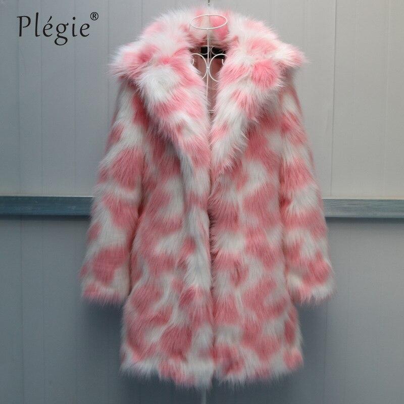 Высококачественное Женское пальто из искусственного меха 2018, Зимняя Толстая Роскошная теплая верхняя одежда из искусственного лисьего меха, розовый, зеленый, 6XL, куртка из искусственного меха, длинные пальто