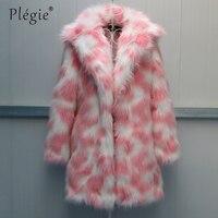 Plegie High Quality Faux Fur Coat Women 2018 Winter Thick Luxury Faux Fox Warm Outwear Pink Green 6XL Faux Fur Jacket Long Coats