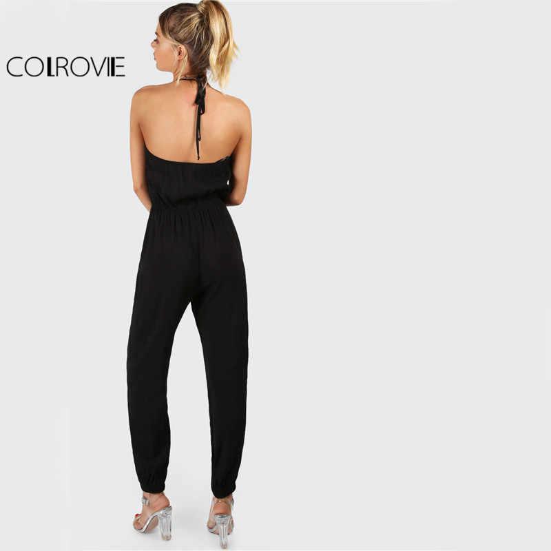 COLROVIE элегантный черный комбинезон с бретелькой на шее, повседневный женский комбинезон с v-образным вырезом, модный пикантный комбинезон с открытой спинкой