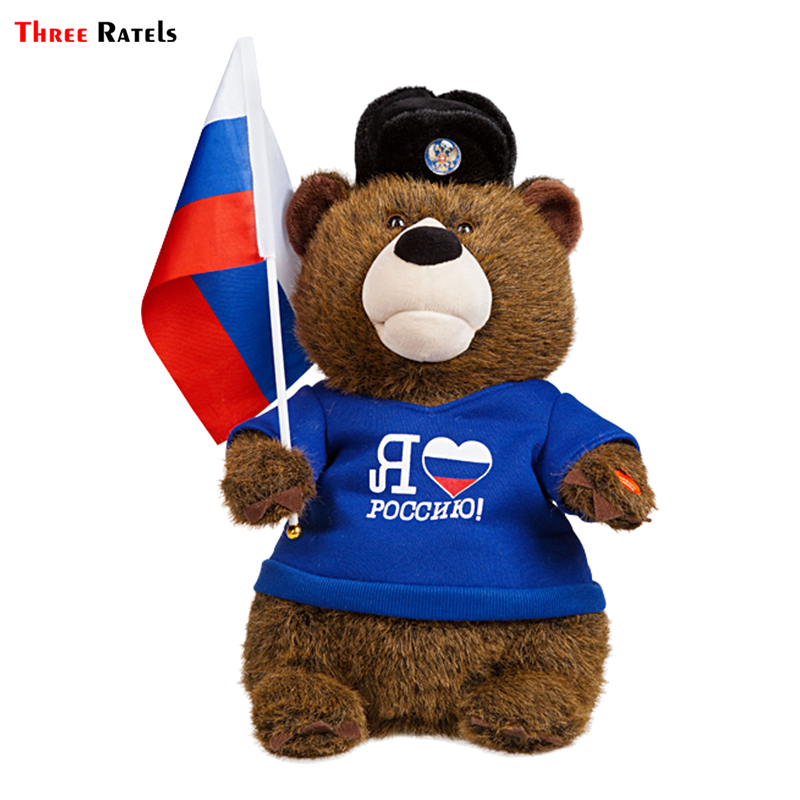 Three Ratels TRL158# 11x15cm Funny Car Sticker  I Love Russia Bear With Russian Federation Flag Car Sticker And Decals