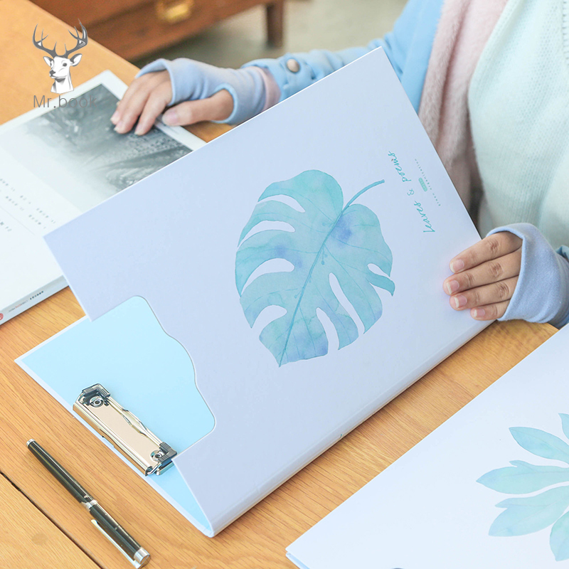 A4 Size Nordic Style Green Leaf Document Clipboard Coated Paper Large File Folder Writing Hard Board School Office Stationery