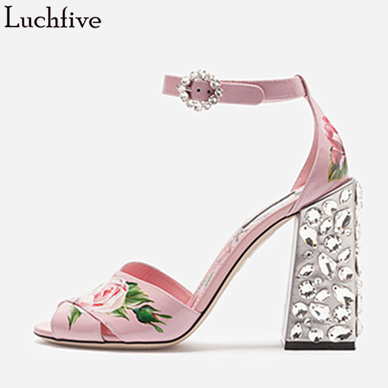 Luchfive Paint Flowers Jeweled High Heel Sandals Women Ankle Strap Runway Summer Crystal Pink Party Shoes Woman Zapatos MujerLuchfive Paint Flowers Jeweled High Heel Sandals Women Ankle Strap Runway Summer Crystal Pink Party Shoes Woman Zapatos Mujer