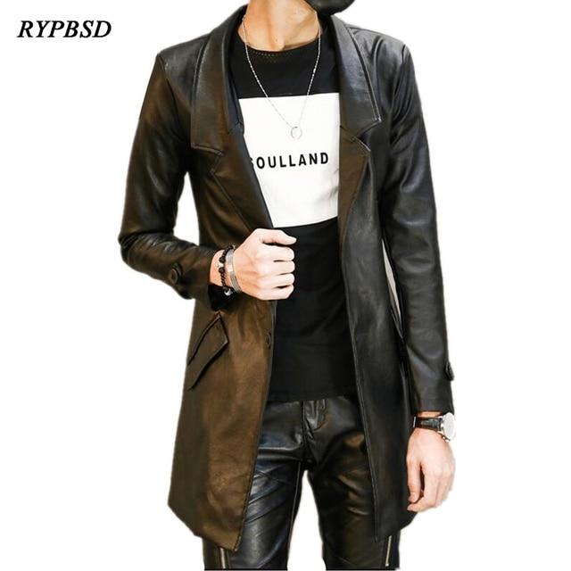 Fashion Pu Leather Mens Leather Blazers Coat Jacket Slim Fit Long