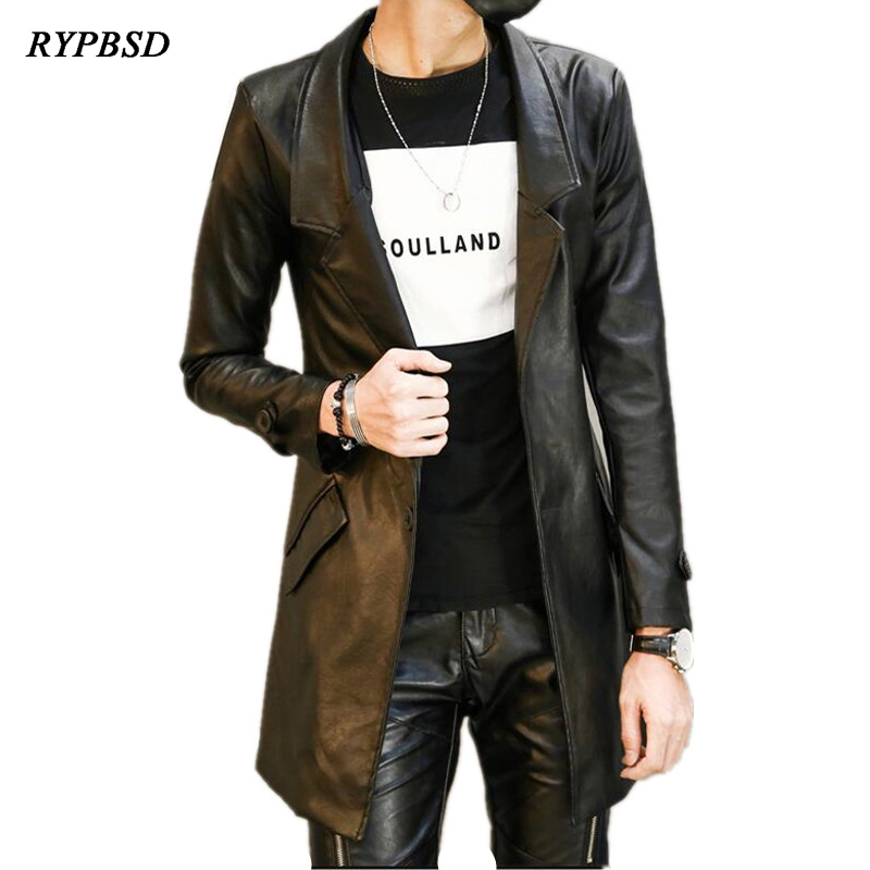 Fashion Pu Leather Mens Leather Blazers Coat Jacket Slim Fit Long Leather   Trench   Coat Jaqueta de couro Factory-direct-clothing
