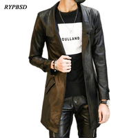 Fashion Pu Leather Mens Leather Blazers Coat Jacket Slim Fit Long Leather Trench Coat Jaqueta de couro Factory direct clothing