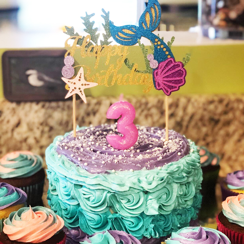 Awesome Starfish Mermaid Happy Birthday Cake Toppers Cupcake Baby Shower Personalised Birthday Cards Akebfashionlily Jamesorg