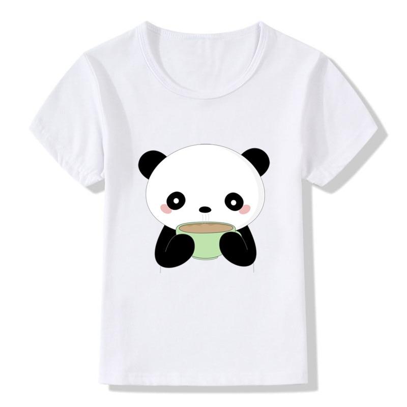 Tee shirt 2018 Children Coffee Panda Print Funny Tshirts Summer Tops Girls Boys t shirts Short Sleeve Cartoon Baby Kids Clothes