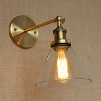 النحاس الشمال ريفي الرجعية وحدة إضاءة LED جداريّة أضواء تركيبات لوفت نمط الصناعية مصباح كلاسيكي اديسون الجدار الشمعدان Lampen apliques Pared-في مصابيح الجدار الداخلي LED من مصابيح وإضاءات على
