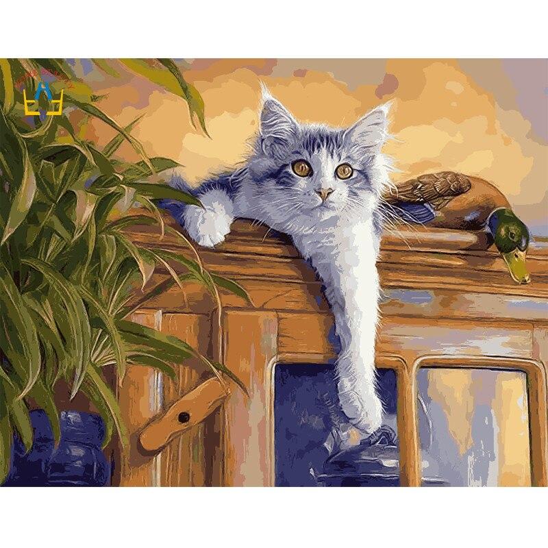 40x50 см рамка кошка картину краски на холст diy цифровой живописи маслом по номерам украшения дома ремесел подарки животных E403
