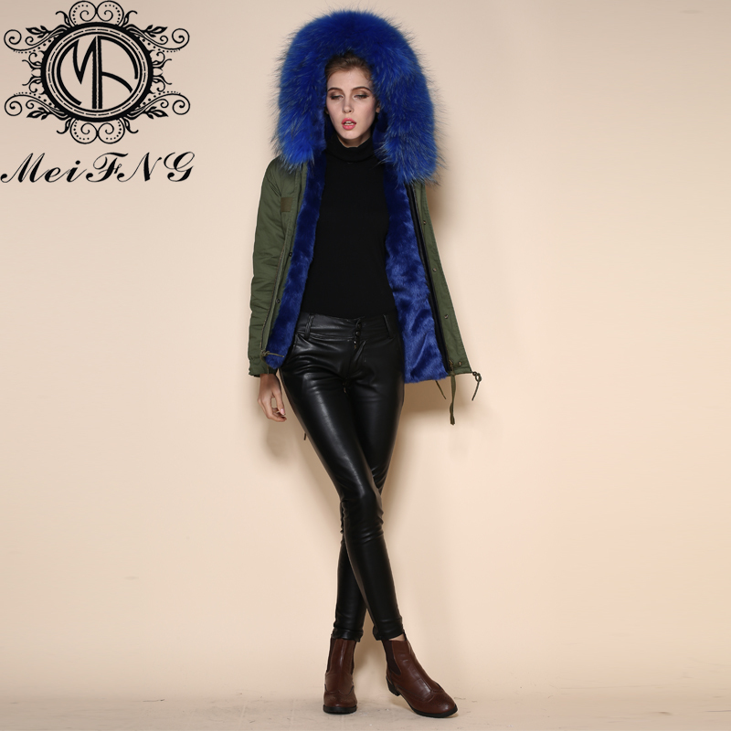 Latest Korean Styles short jackets parka Dark blue fox fur lining ...