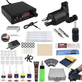 Besta tattoo kit tattoo machine set professional maquina tattoo Top Rotary Machines for Body Art 5 Colors LED Power Supply 2019 50 colors tattoo