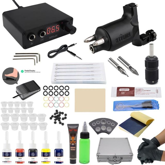 Besta tattoo kit tattoo machine set professional maquina tattoo Top Rotary Machines for Body Art 5 Colors LED Power Supply 2019