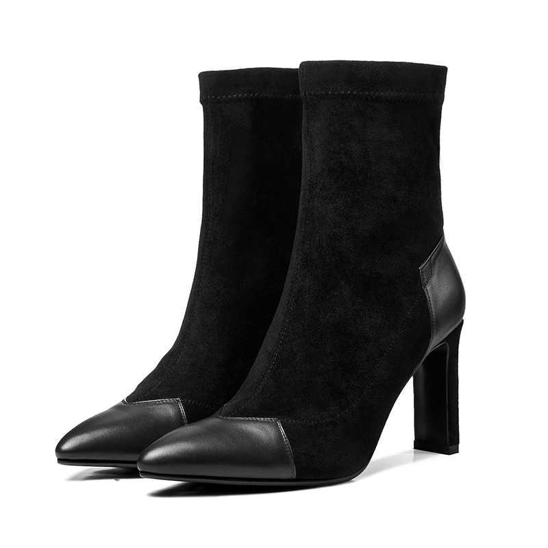 ISNOM Leder High Heels Frauen Stiefeletten Spitz Schuhe Stretch Weibliche Boot Elastische Flock Schuhe Frau 2018 Winter Neue