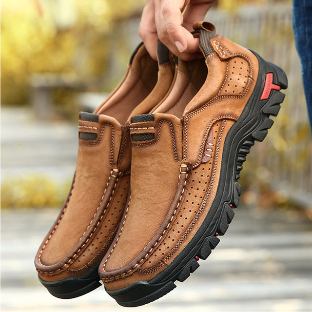 Men's Hiking Shoes Wear-resistant Waterproof Walking Shoes Comfortable Top Leather Leather Outdoor Sports Shoes