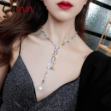 цена на CANNER Shining Crystal Necklace Rhinestone Pendant Necklace Choker Silver Neckalce Statement collares de moda 2019 FI