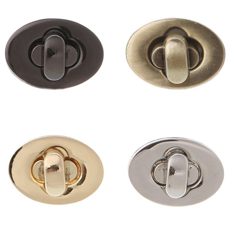 THINKTHENDO  New 4 Color Twist Lock Accessories Oval Handbags Case Alloy Catch Buckle Small Bag Clasp Egg Shape Bag