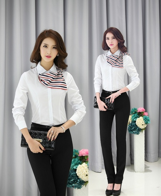 New 2015 Spring Autumn Female Work Suits Professional Business Office Work Wear Pant And Blouses Uniforms Pantsuits Trousers Set