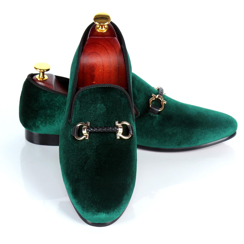 Harpelunde الرجال الشقق إبزيم حزام عارضة أحذية الأخضر المخملية متعطل النعال حجم 7-14