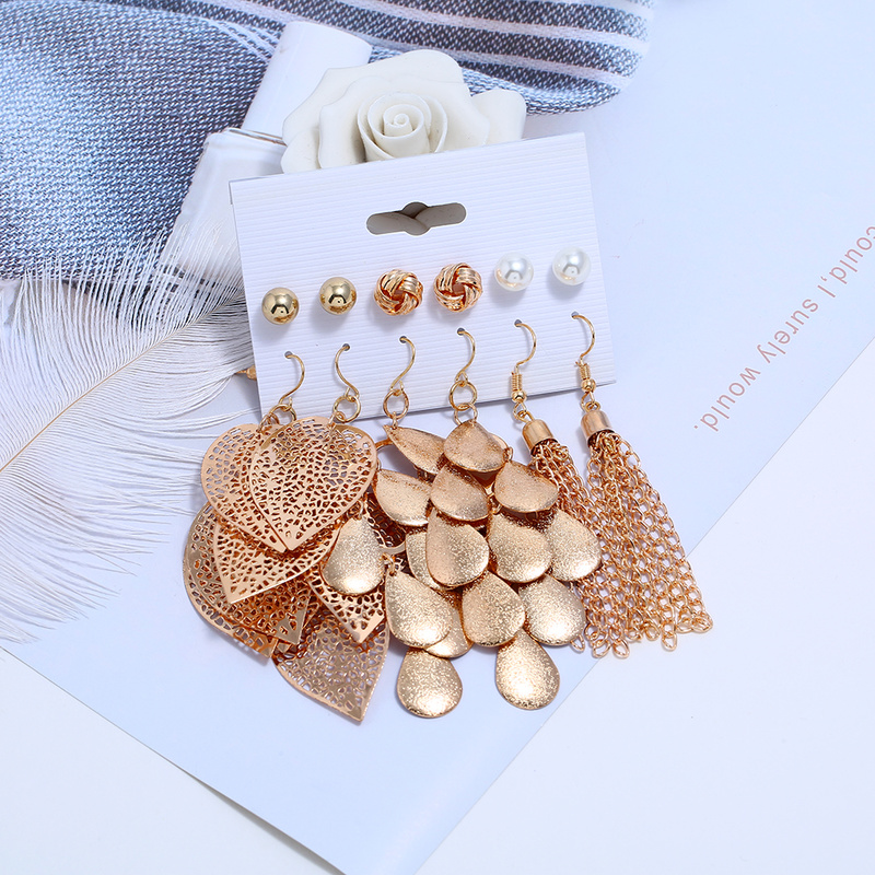 7 Pairs Long Tassel Earrings Set Women Jewelry Gold Color Multi-layer Leafs Earring Ladies Birthday Gift image