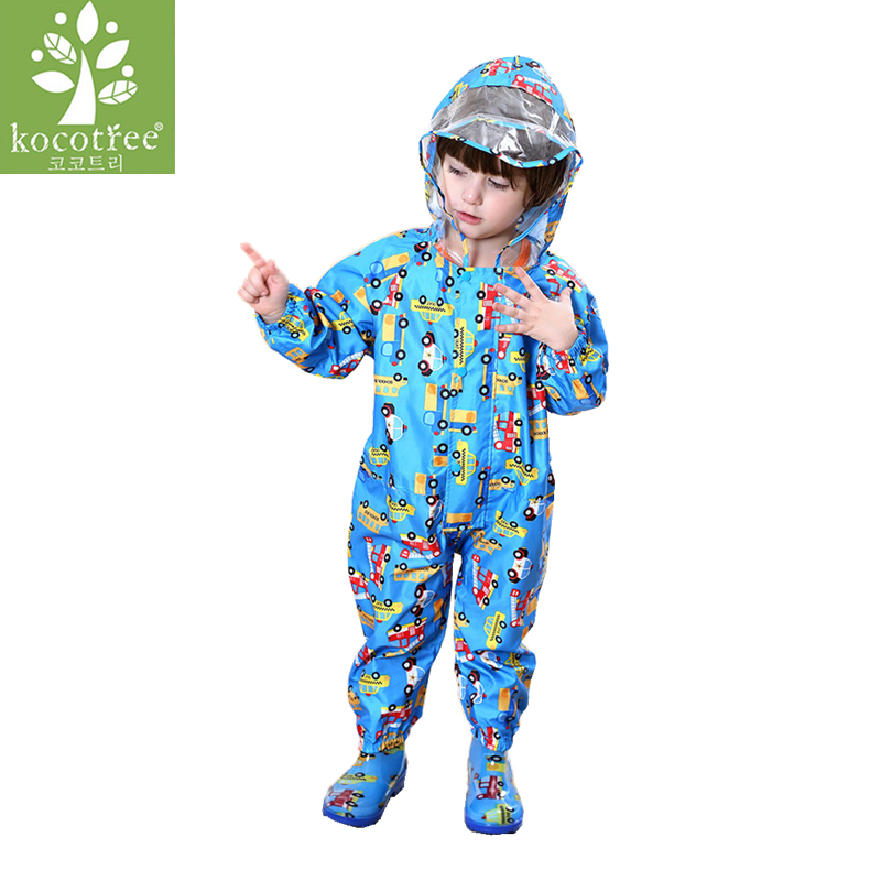 1-9 ans enfants Combinaison bébé One-Piece Cartoon Kid étudiants costume à capuche imperméable costume Vêtements de pluie et pantalons anti-pluie Set