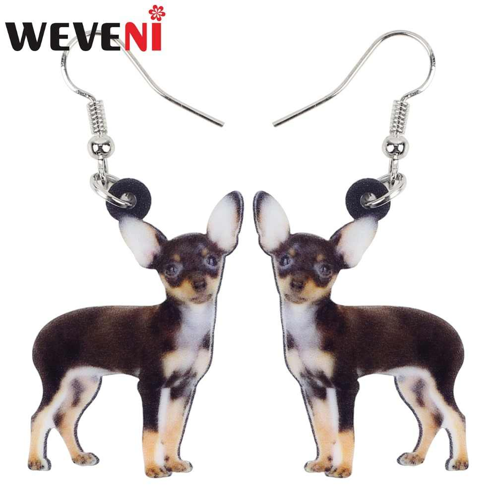 WEVENI Acrylic Anime Chihuahua Dog Earrings Big Long Dangle Drop Animal Jewelry For Women Ladies Teens  Accessories 2018 News