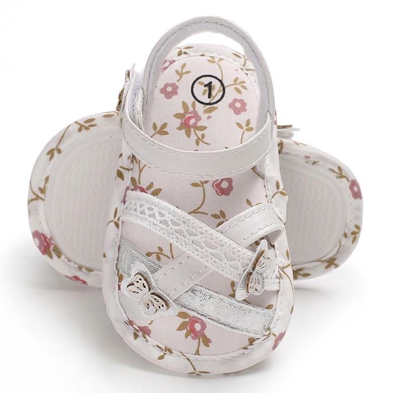 Baby Sandals Infant Newborn Baby Girls Sandalias Soft Sole Indoor Baby Crib Floral Nonslip Sandal Baby Shoes