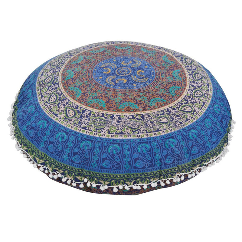 80*80CM Big Round Mandala Floor Pillow cover Round Bohemian Meditation Cushion case covers ...