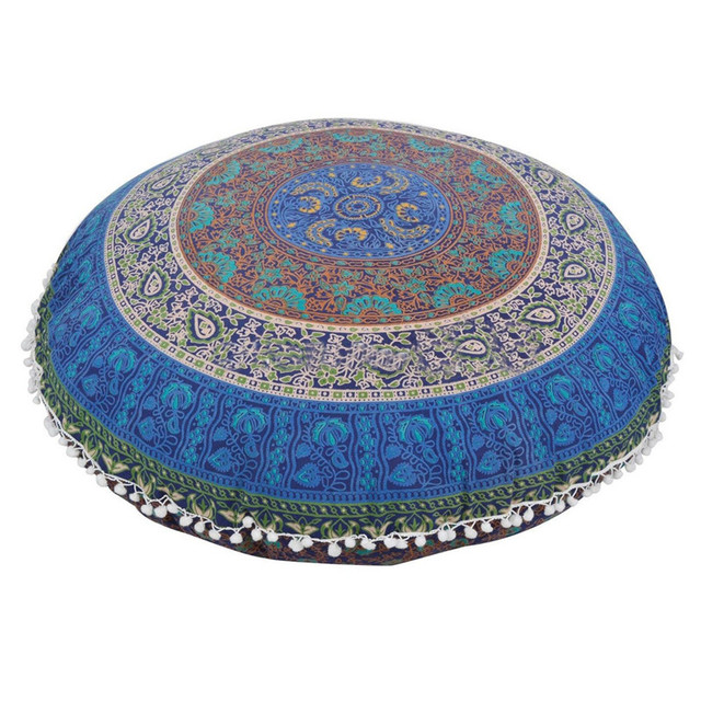 Us 7 19 20 Off 80 80cm Big Round Mandala Floor Pillow Cover Round Bohemian Meditation Cushion Case Covers Flower Print Large Pillow Slips Sale In