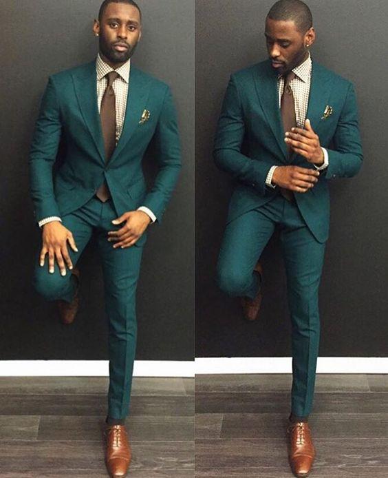 Dark Green Slim Fit Groomsmen Tuxedos Tailor Made 2 Pieces Men\'s ...