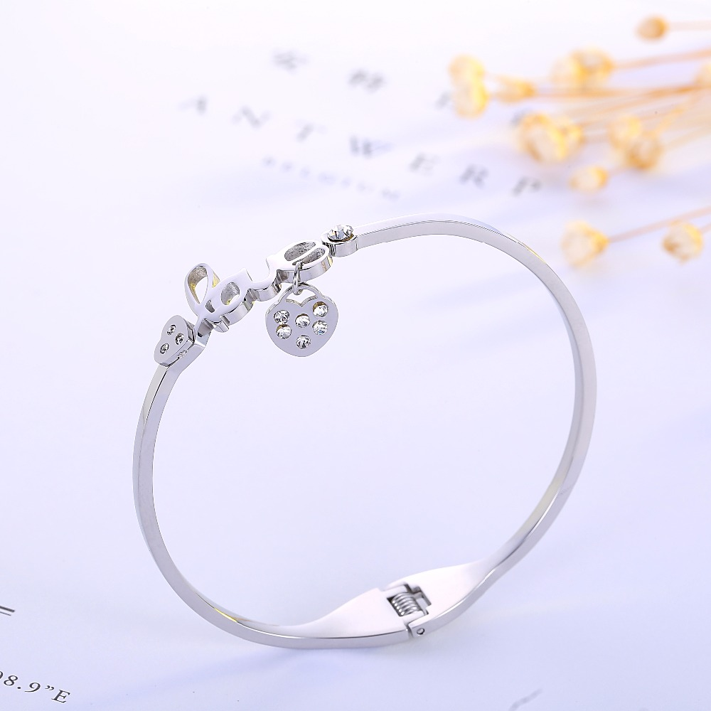 free registered Love Heart charm Couple brand Cuff Carter Bracelets Bangles 316L Stainless Steel office style wedding show party