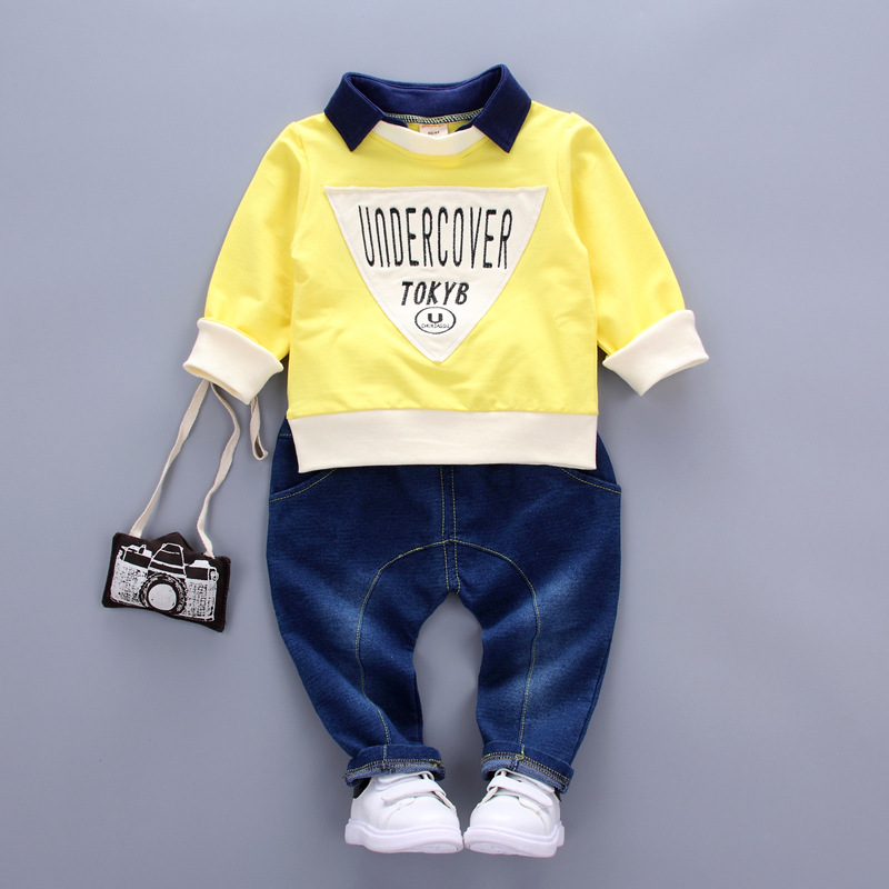 2017 new children clothes 100% cotton high quality  Long sleeve + jeans 2 pieces children clothing set 1-4 year boys clothes 2017 new boys clothing set camouflage 3 9t boy sports suits kids clothes suit cotton boys tracksuit teenage costume long sleeve