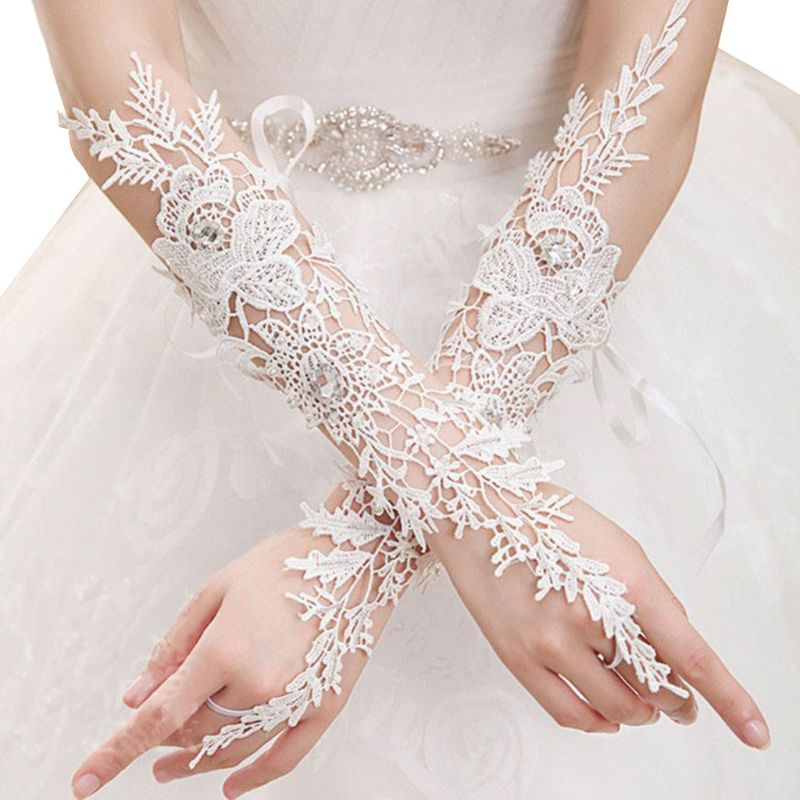 Women Wedding Party Embroidered Hollow Out Floral Lace Gloves Bridal Fingerless Glitter Rhinestone Elbow Long Hook Finger Mitten
