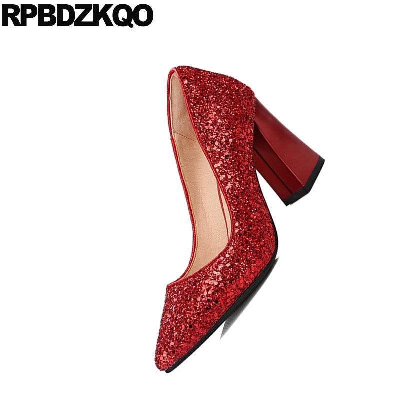 Mariage Argent 5cm Mariée Moyen Femmes Pompes Chaussures Bout Rouge Bling Pouce silver red Épais red Haute Taille 2018 Mousseux Red 5cm De 34 Talons 4 9cm silver Glitter 9cm Pointu silver 3 7cm 7cm C87qxtw