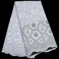 Free Shipping 5yards Pc Skyblue And White Swiss Lace Fabric 2017 Latest African Dry Cotton Lace