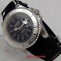 40 мм bliger черный циферблат серебряный Безель сапфировое стекло автоматическое движение Мужские часы
