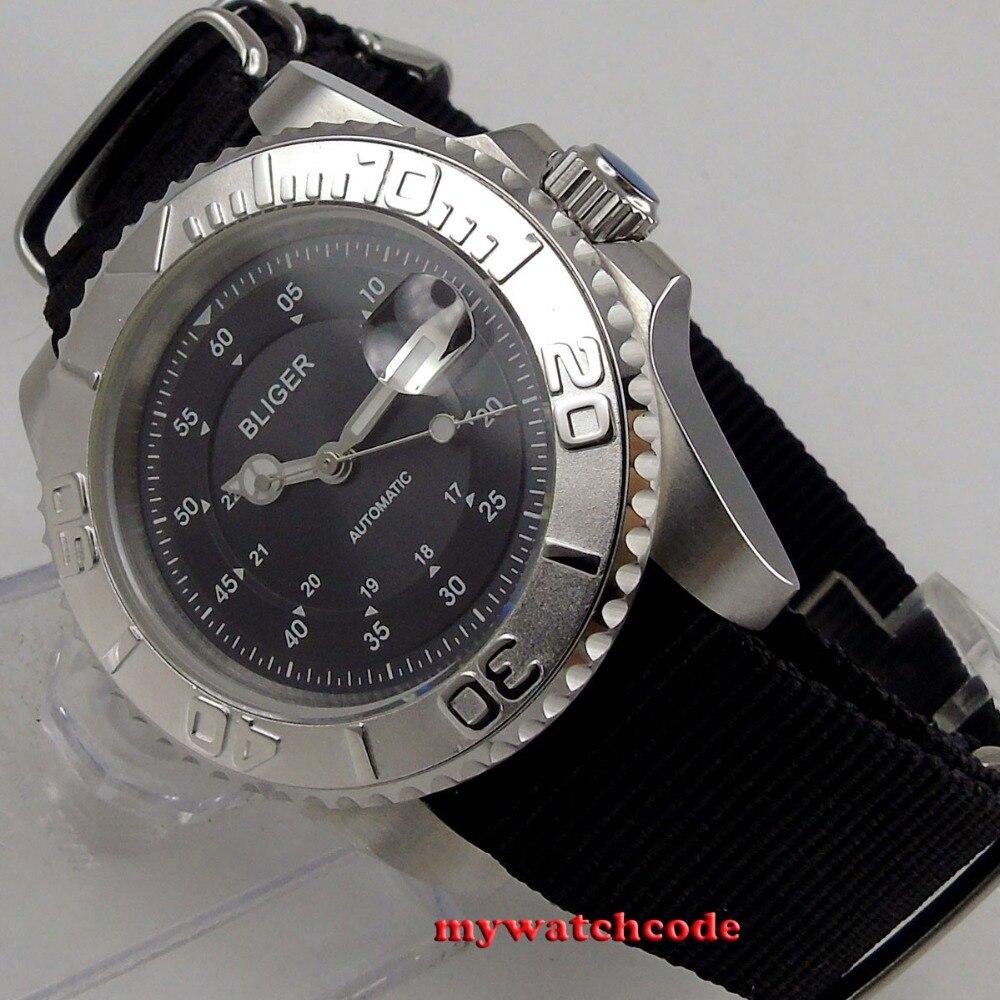 лучшая цена 40mm bliger black dial silver caremic bezel sapphire crystal automatic movement mens watch