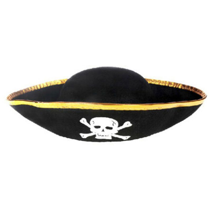Good Quality New Tri Corner Pirate Hat - Three Cornered Buccaneer Costume Accessory Hat