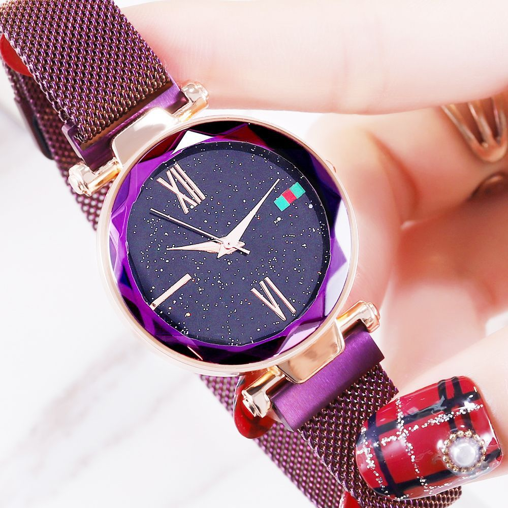 Starry Sky Watch Fashion Rose Gold Women Watches Minimalism Magnetic Buckle Luxury Casual Ladies Roman Numeral Female Wristwatch