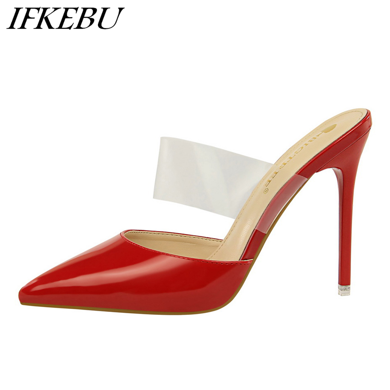 Woman PVC Slippers Pointed Toe Slides Ladies Slip on Mules Fashion High Heels Shoes Patent Leather Sandalias Mujer Colourful