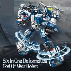 Image 2 - 577pcs Legoings 6 In 1 Police War Generals Robot Car Building Blocks Kit Toys Kids Birthday Christmas Gifts
