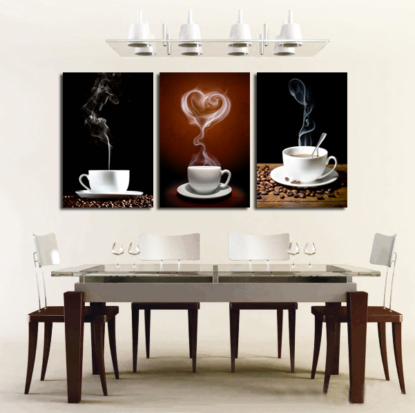 SVITY Coffee Cup Wall Canvas Painting Coffee 3 Panel Restaurant - Decoración del hogar - foto 3