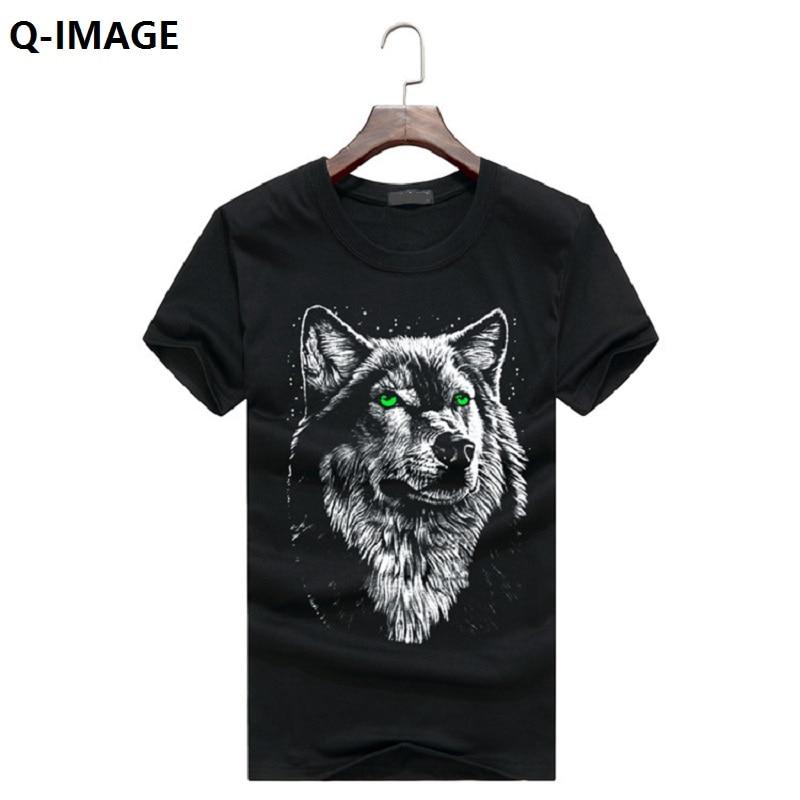 Q-IMAGE cotton 3d t shirt men 2016 summer new arrvial 3D funny wolf man's T-shirt extended plus size 5XL white black blue