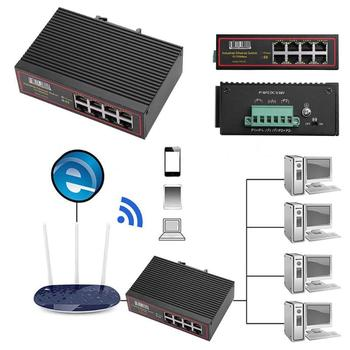 8 Ports Industrial Ethernet Switch 10/100Mbps Signal Strengthen DIN Rail Type Network Switcher