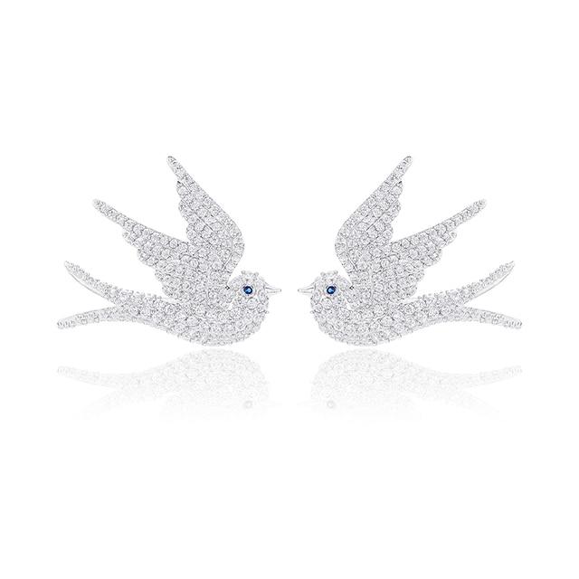 XIUMEIYIZU Women Jewelry Silver Plated White and Black AAA Cubic Zirconia Pigeon Dove Bird Stud Earrings