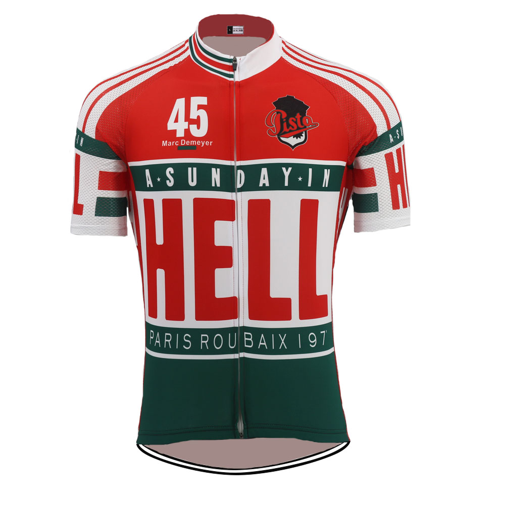 ÚJ klasszikus csapat kerékpáros mezpop Ciclismo Bike Viseljen férfiak Rövid ujjú Kültéri sport lélegző Retro kerékpáros ruházat
