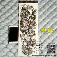 """SHNAPIGN """"Life Is A Game"""" Full Sleeve Temporary Body Art,48*17cm Flash Tattoo Stickers,Waterproof Tatto Adult Sex Products Henna"""