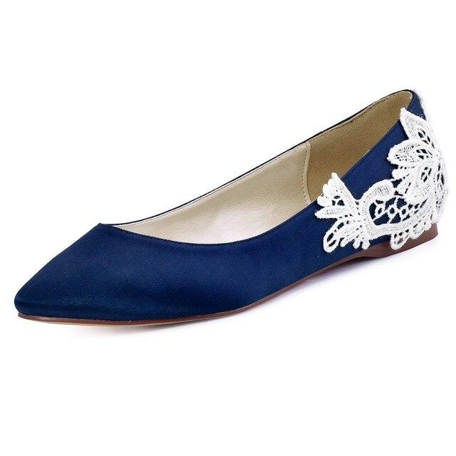 FC1607 Navy Blue Women Shoes Closed Toe Comfort Flats shoes Bridal ...