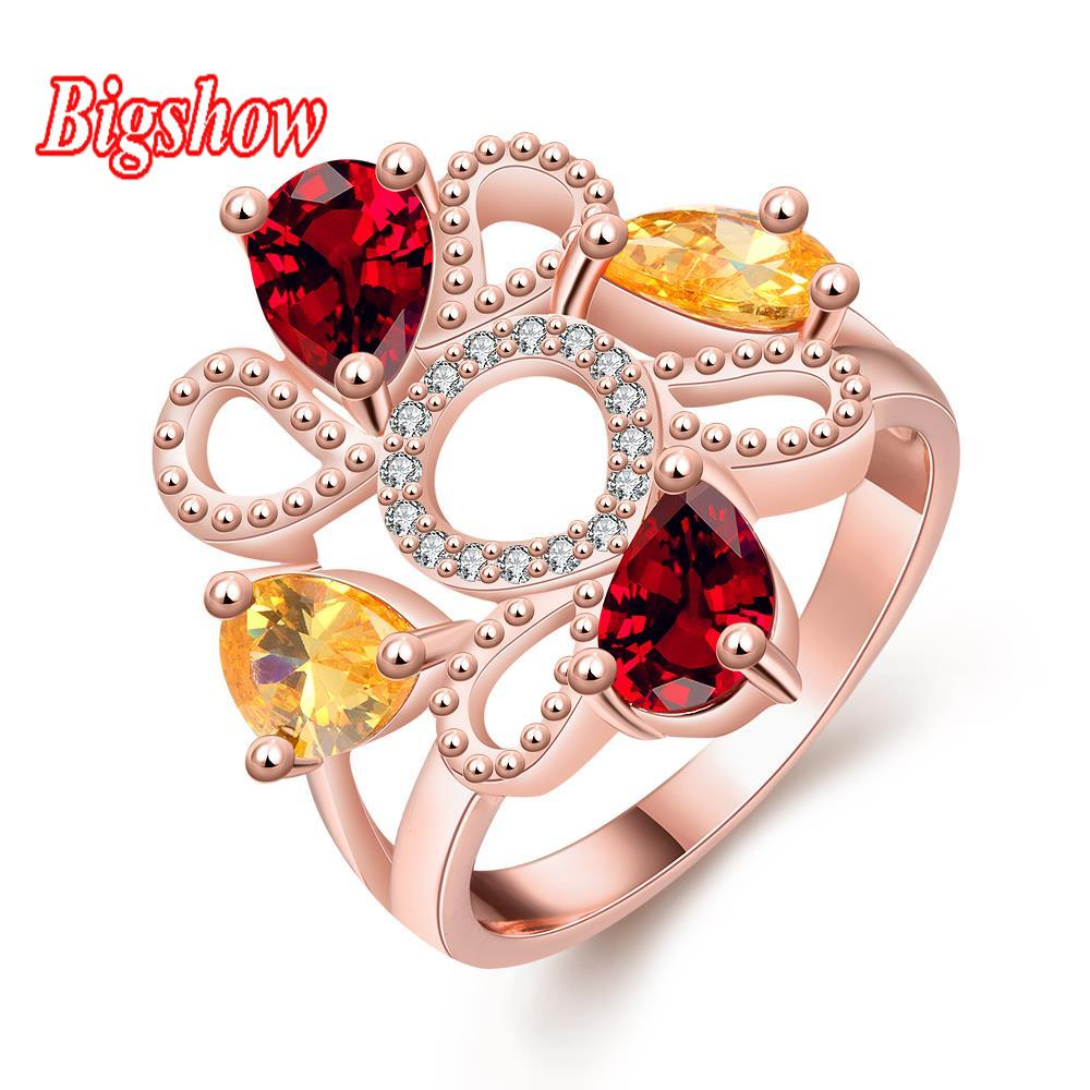 New Fashion Top Sale Unique Colorful 18K Rose Gold Plated AAA Zircon Weddding bijoux Rings Fine Ruby Jewelry For Women R307-8