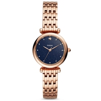 FOSSIL Ladies Watch Blue Dial Carlie Mini THREE HAND Rose Gold Tone Stainless Steel Quartz Watch for Women Stylish ES4522P